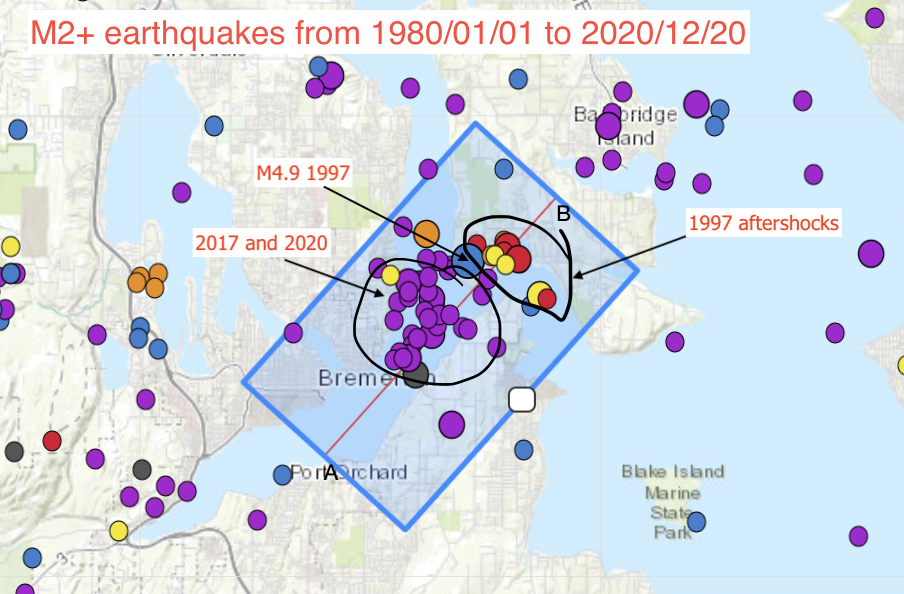 mapview M2+ earthquakes in the bremerton area