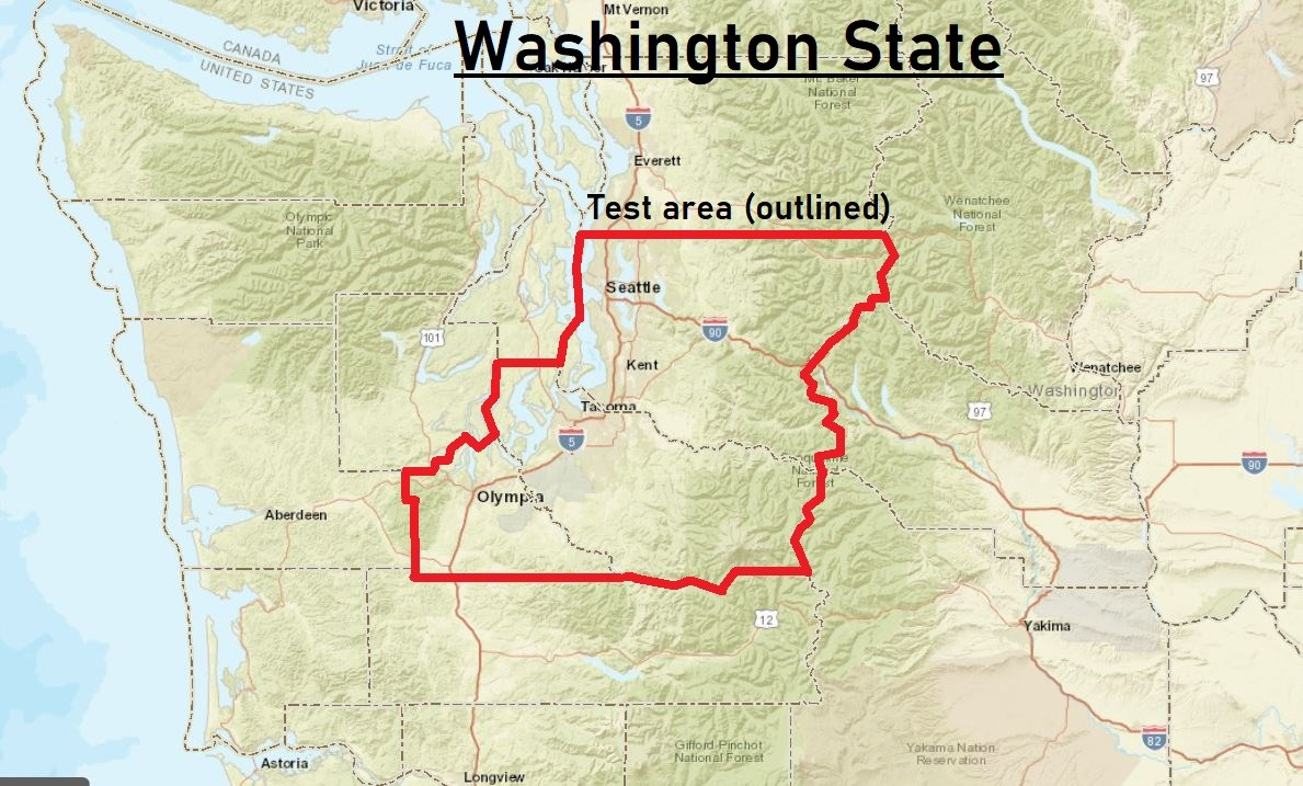 Counties in WA where smartphone users will be able to receive a WEA test alert on Feb 25.