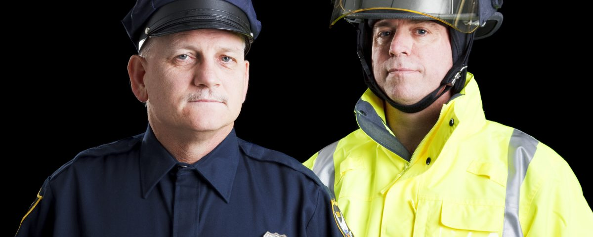 Firefighter with police officer