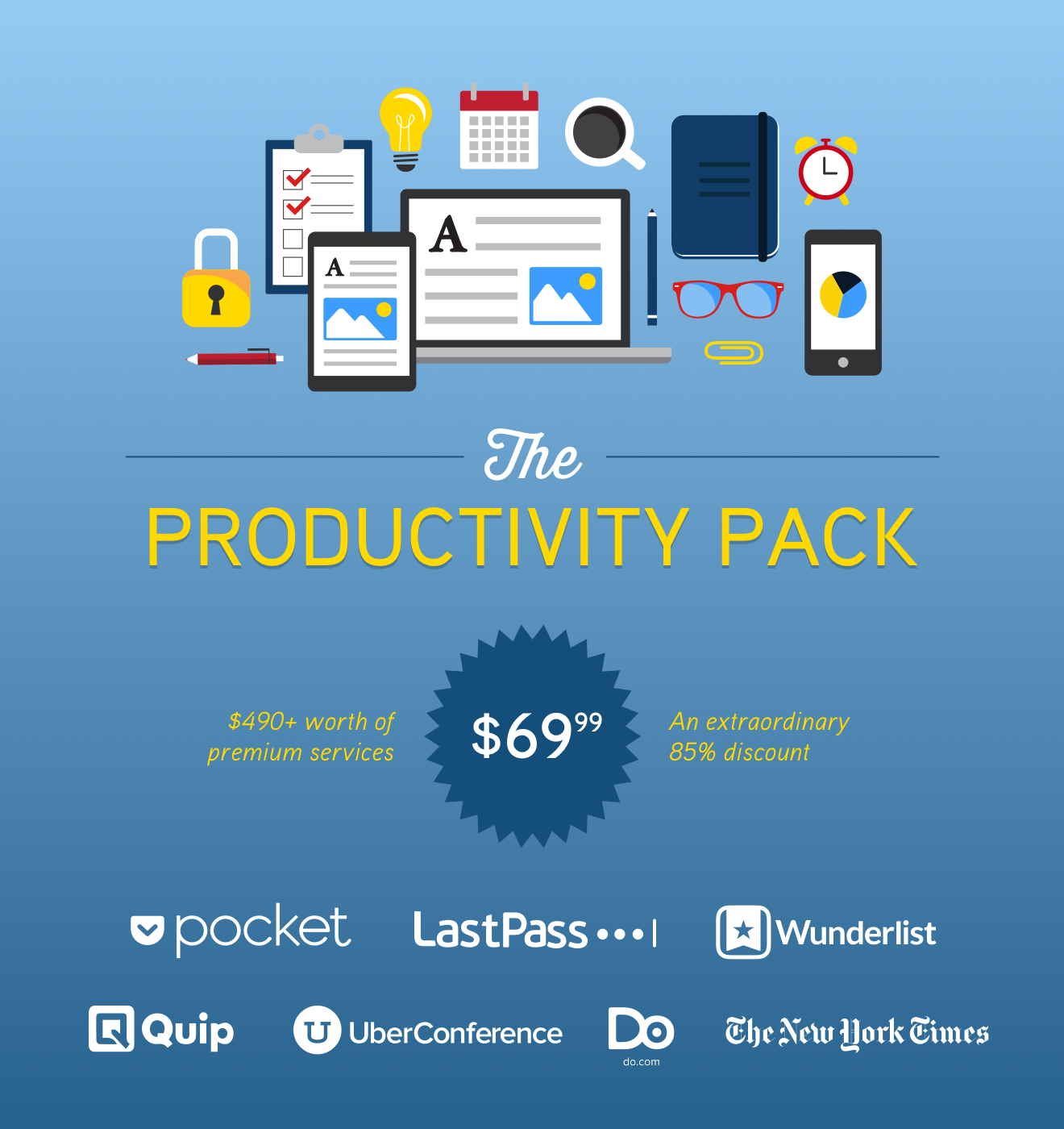 Jumpstart your workday and get the Productivity Pack: Over $490 Worth of Premium Services to Award-Winning Apps!