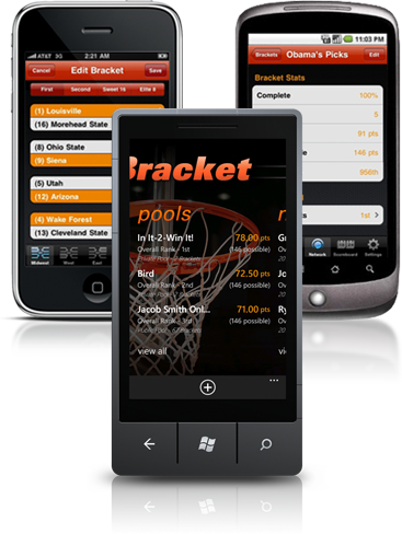 Screenshot of PocketBracket on iOS, Android, and Windows Phone