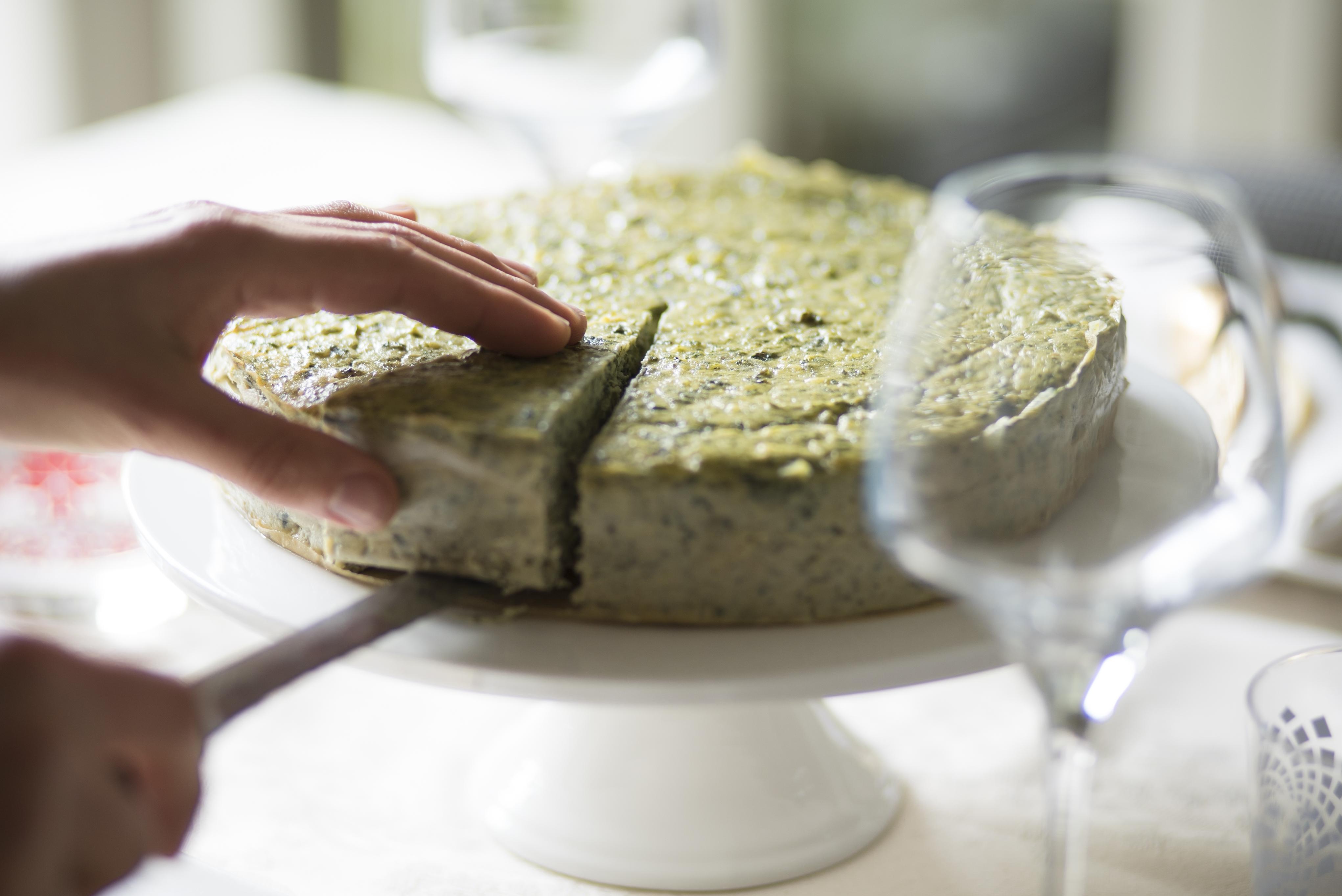 Ricotta Cheesecake with Silverbeet & Prosciutto Cotto Filling