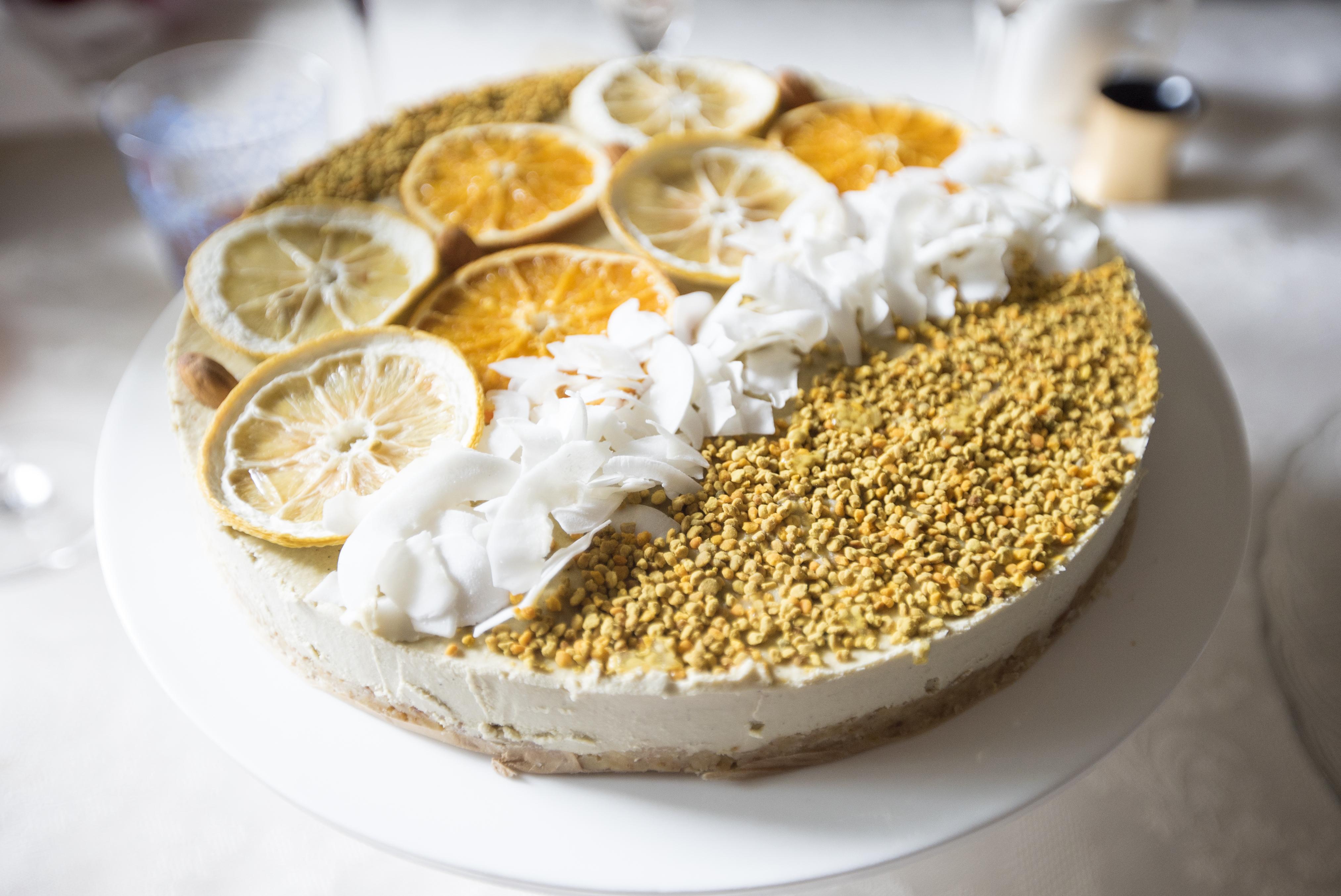 Raw Mango & Orange Cashew Cheesecake