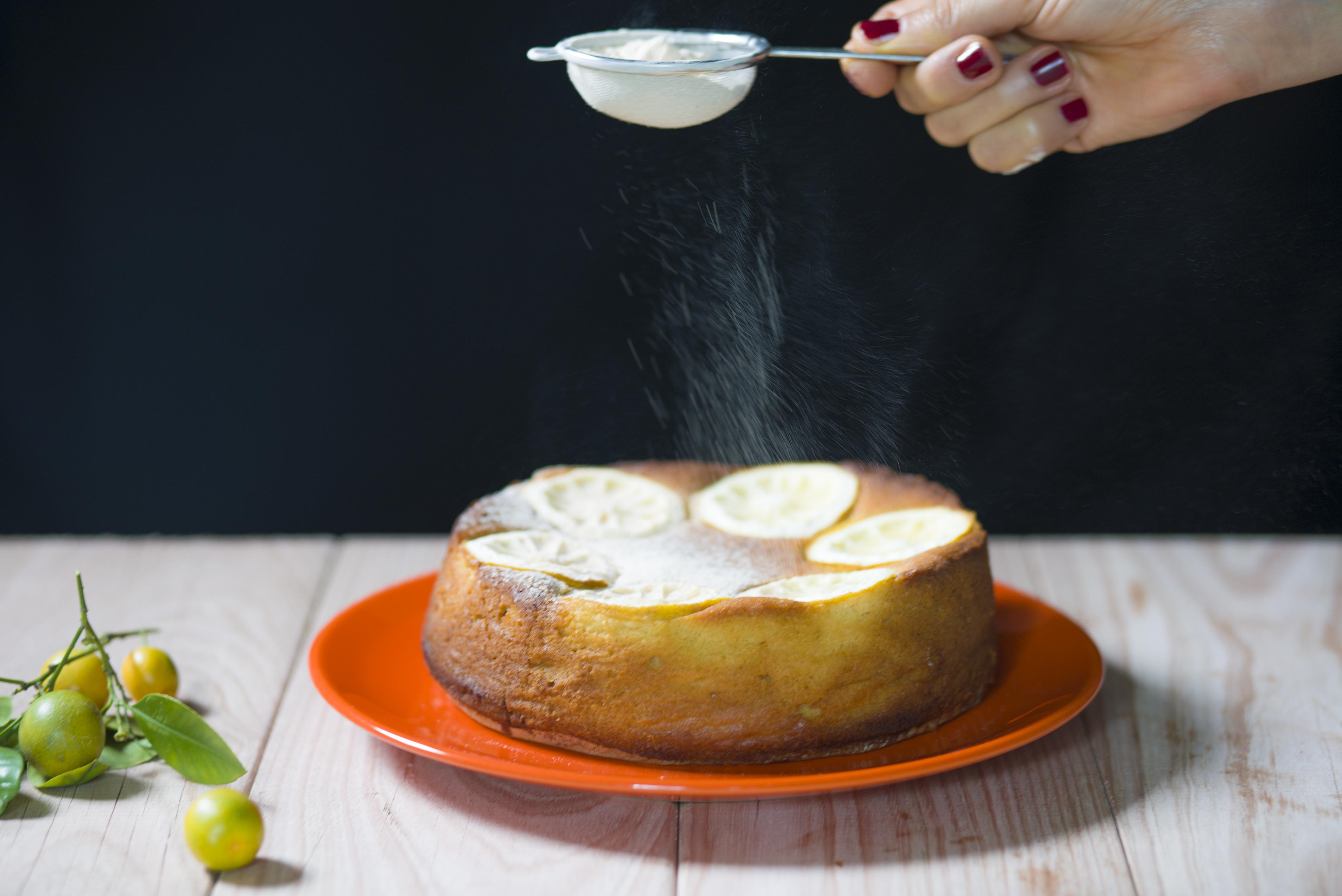 White chocolate, almond and lemon cake
