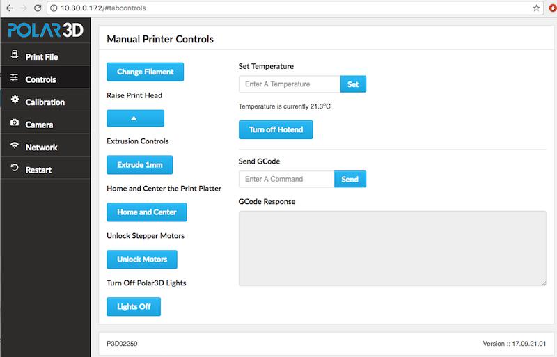 The Controls tab and the Manual Printer Controls screen