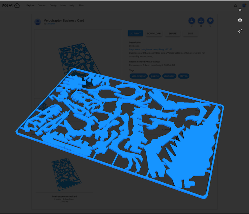 Object detail screen: 3D visualization overlay