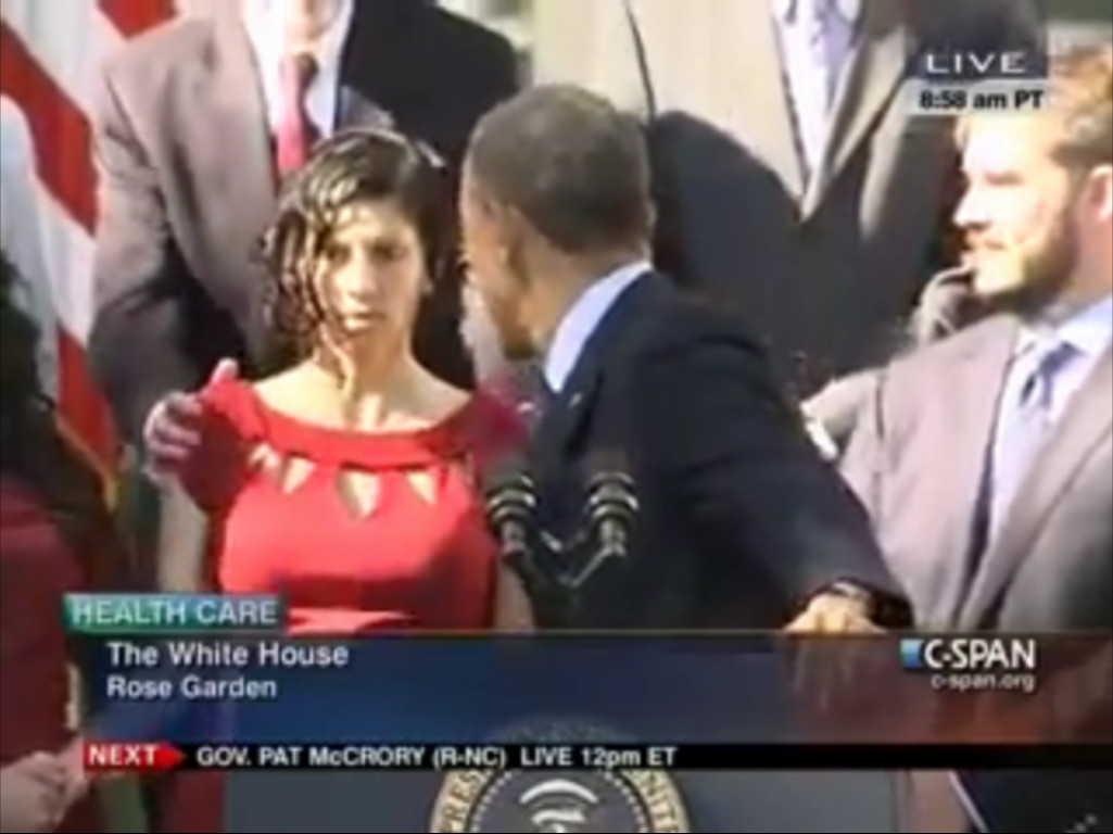 woman, faints, during, obama's, aca, speech,