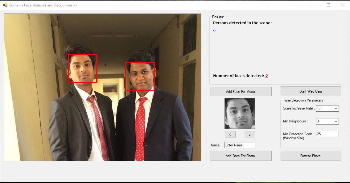 face detection and recognition using emgu cv