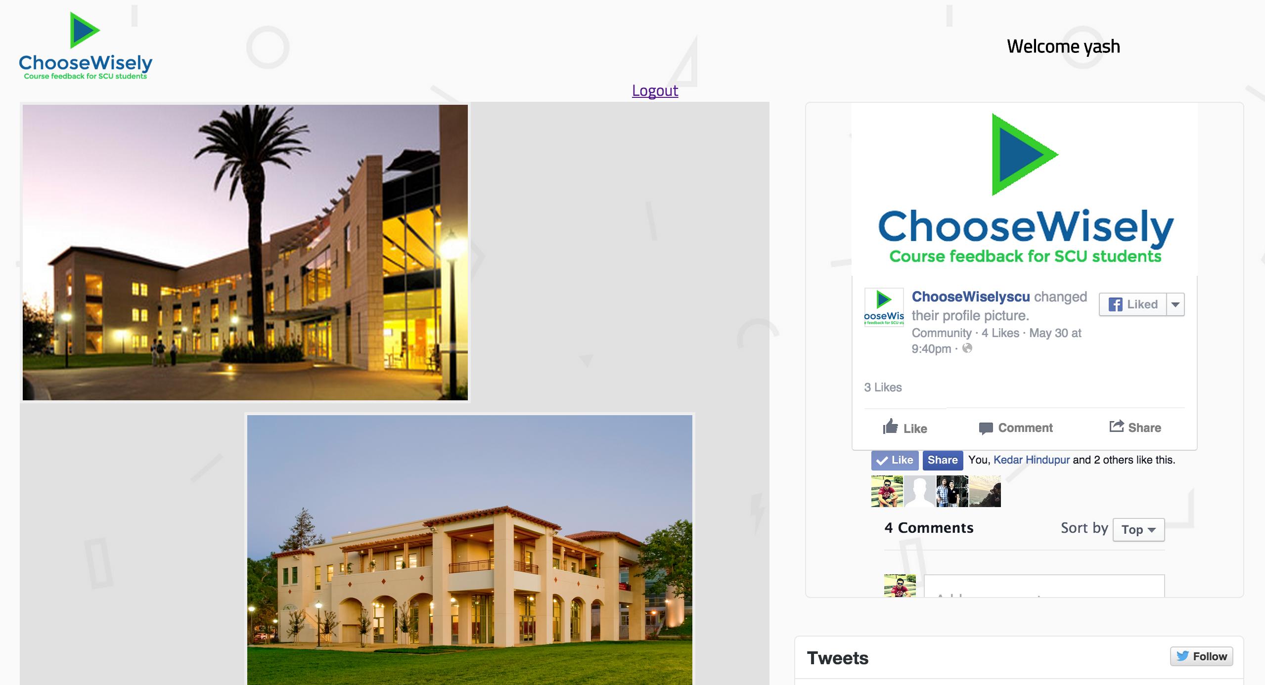 ChooseWisely.com SANTA CLARA UNIVERSITY COURSE AND PROFESSOR FEEDBACK WEB APPLICATION