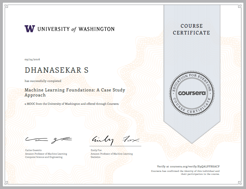 Machine Learning Foundations A Case Study Approach Certification