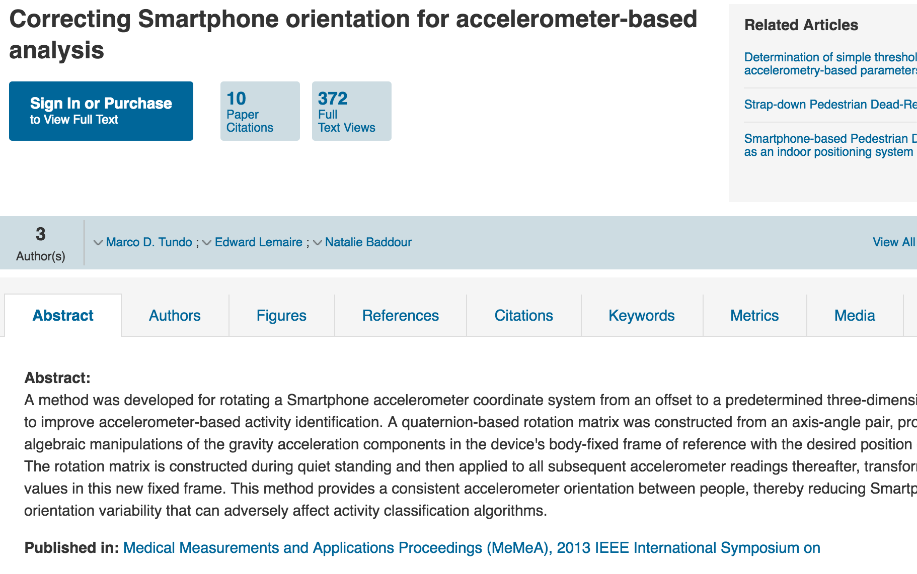 Correcting Smartphone orientation for accelerometer-based analysis