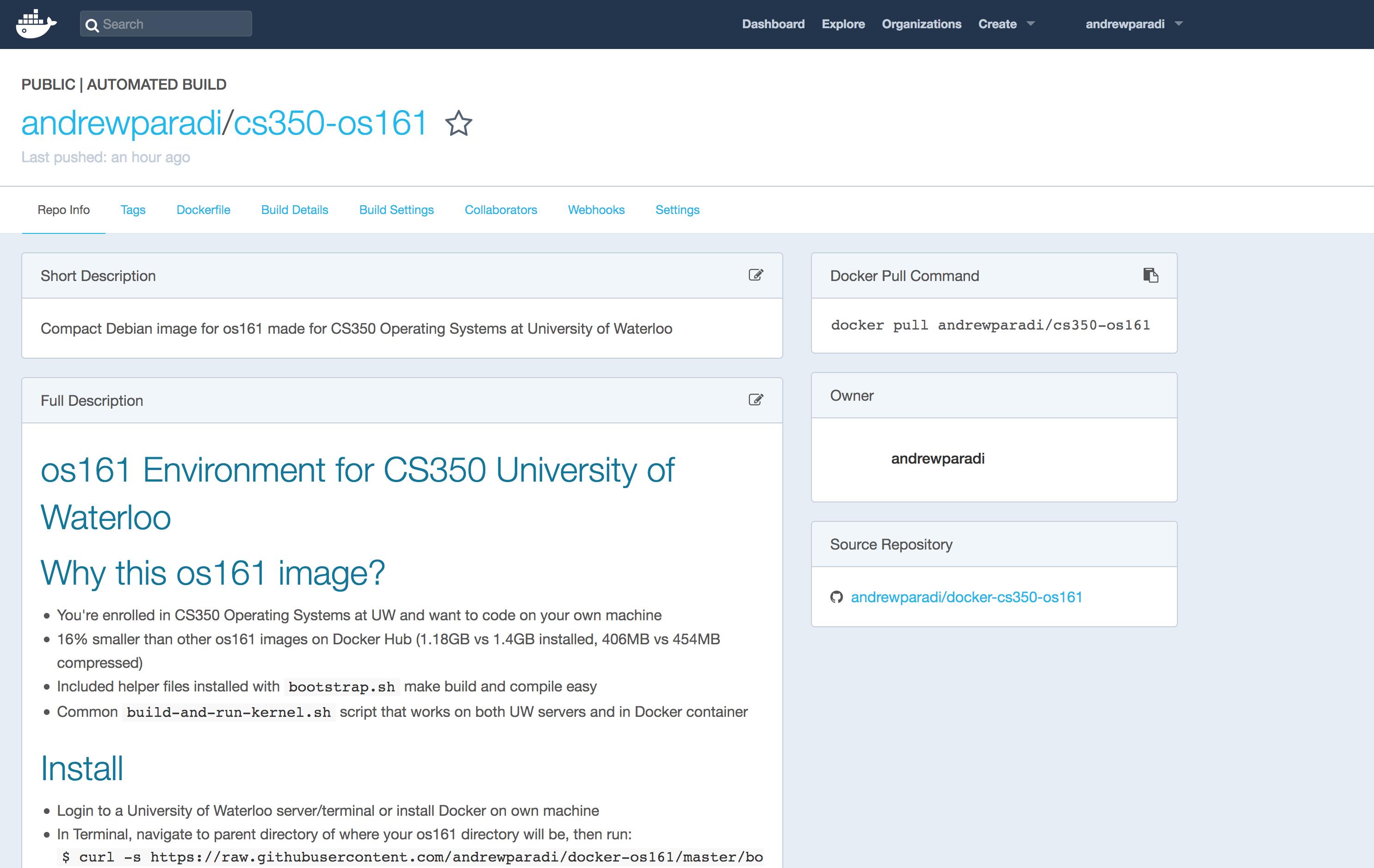 Docker CS350 OS161