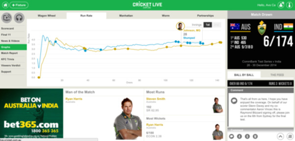 Cricket Live web app by Roman Kalyakin