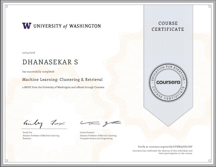 Machine Learning Clustering Retrieval Certification Angellist