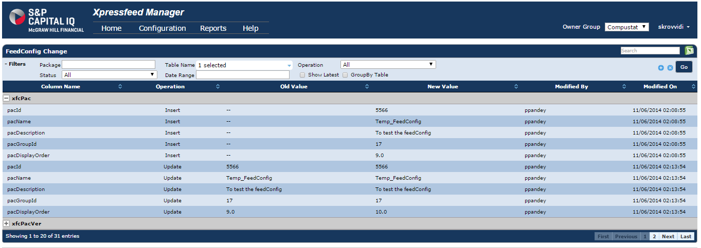 Xpreesfeed feedConfig Change Analysis@S&P Capital IQ -Hyderabad
