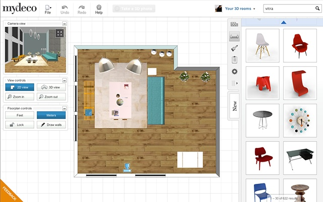 Mydeco online shop and 3d room planner angellist for Design your living room online 3d