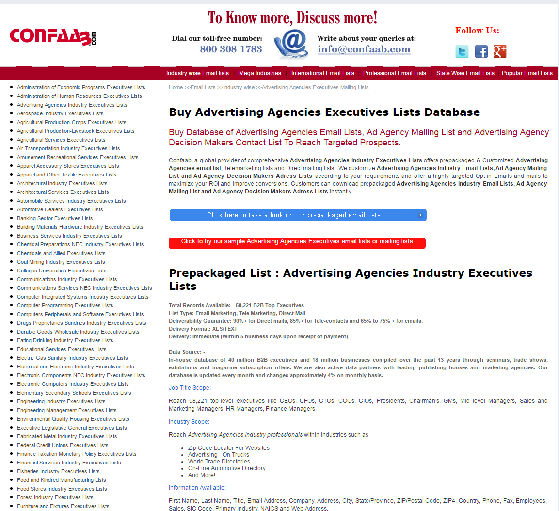 Advertising and Marketing Agencies Email List | Mailing