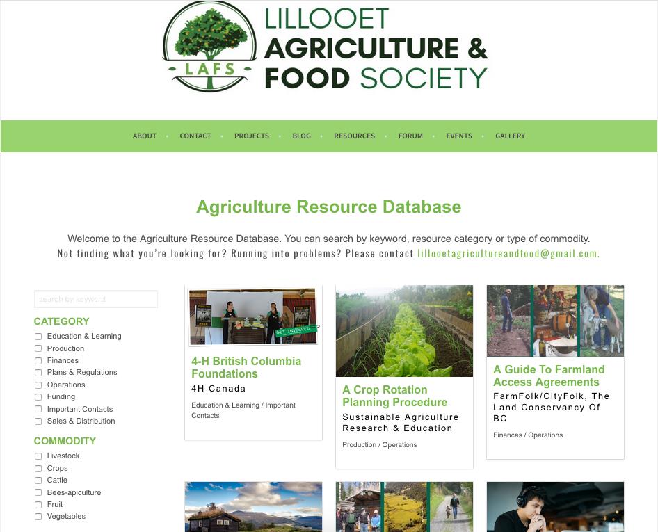 LAFS Farmer resource database