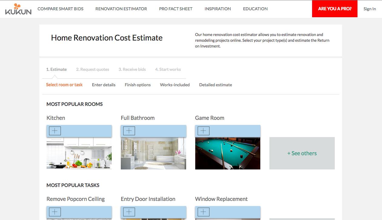 Renovation cost estimator tool angellist for Home project cost estimator