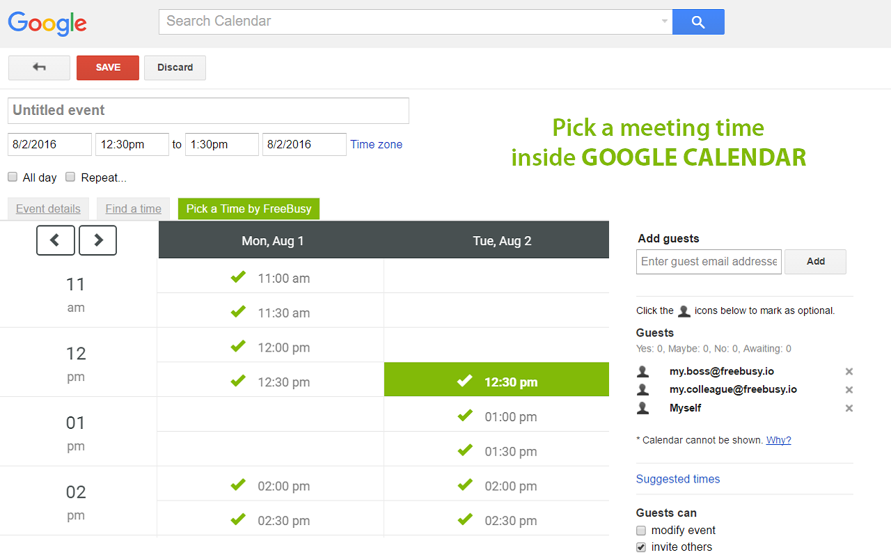 FreeBusy Scheduling Assistant for Google Calendar and Gmail