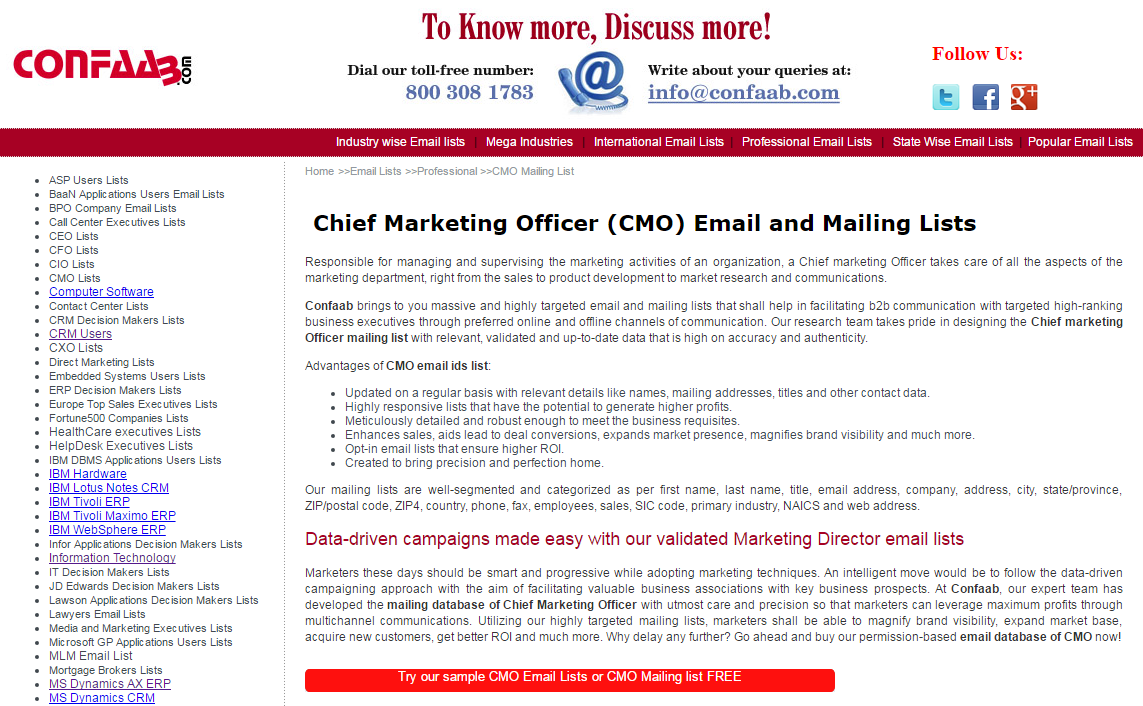Mailing list of marketing managers | AngelList