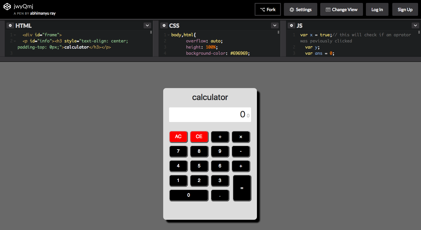 JAVASCRIPT CALCULATOR (web development front end) | AngelList