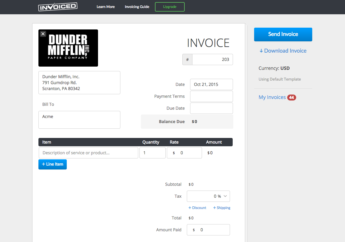 Free Invoice Generator By Invoiced AngelList - Invoice maker software free