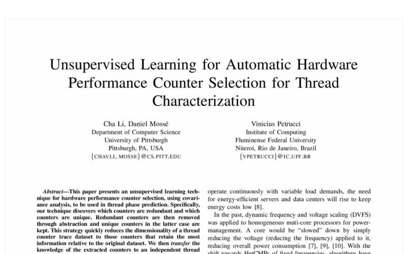 Unsupervised Learning for Automatic Hardware Performance Counter Selection for Thread Characterization