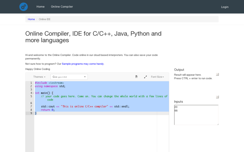 Online Compiler, IDE for C/C++, Java, Python and more Languages