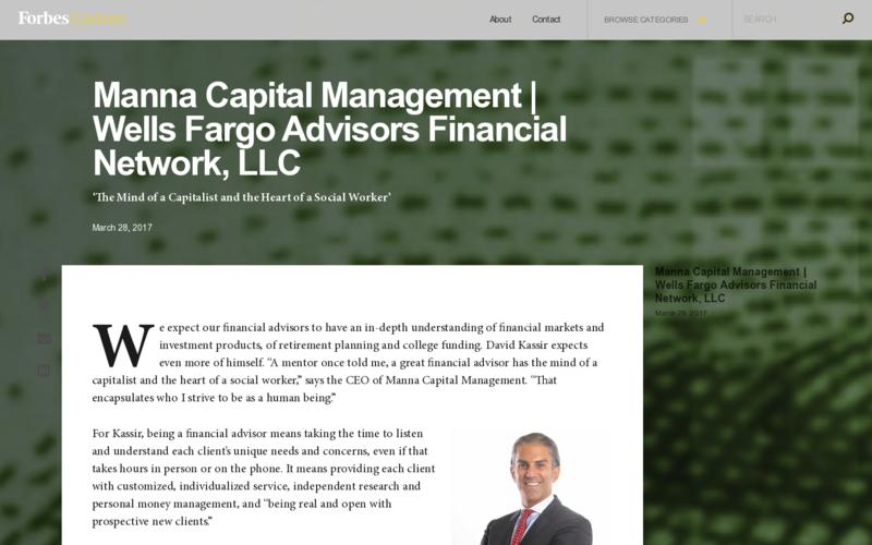 Manna Capital Management | Wells Fargo Advisors Financial Network