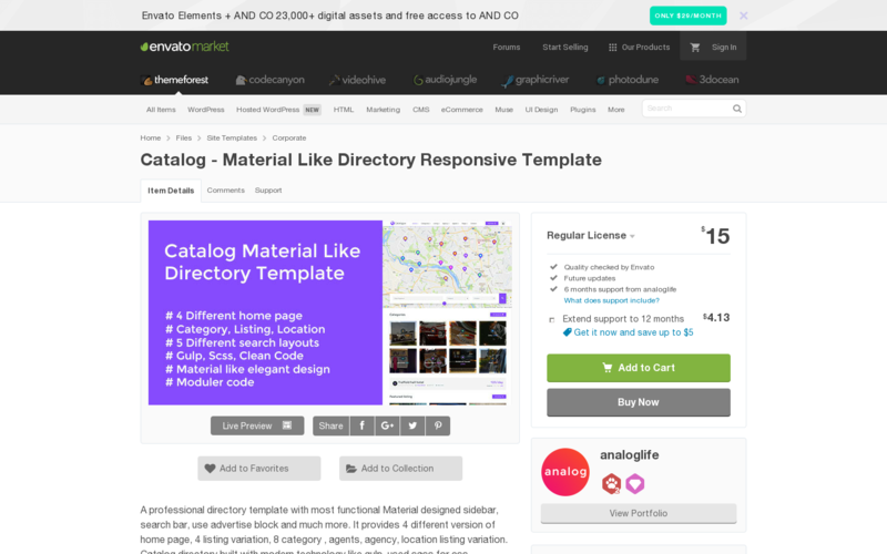 catalog material like directory responsive template angellist