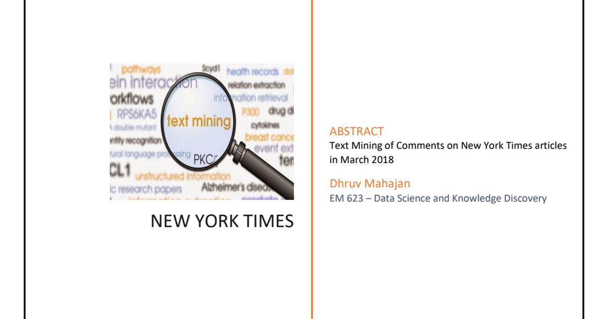 Text Mining of New York Times dataset using MS Excel, WORDij