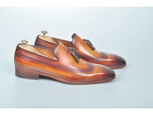 a2968e6ca59 TucciPolo Handmade Luxury Tan Brogue Mens Italian Leather Tassel Loafers  Shoes