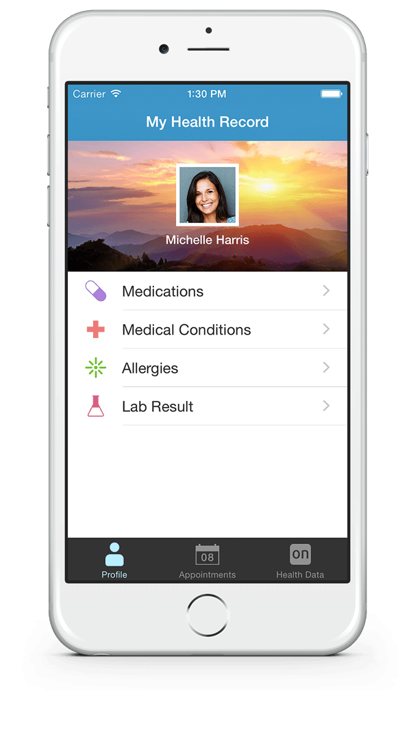 iphone personal health record onpatient