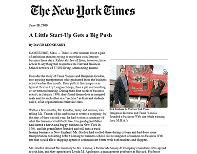 New York Times on Benjamin Gordon and 3PLex: A Little Start-up Gets a Big Push