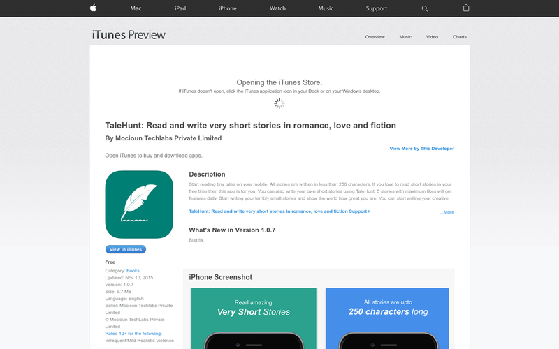 TaleHunt: Read and write very short stories in romance, love