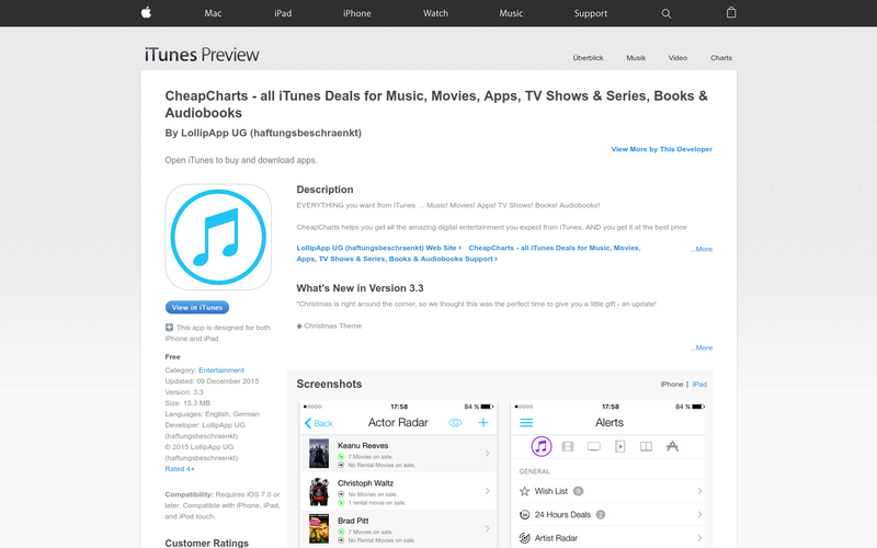 CheapCharts - all iTunes Deals for Music, Movies, Apps, TV Shows