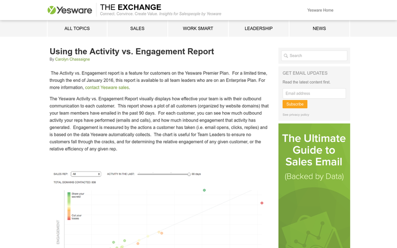 Using the Activity vs. Engagement Report - Yesware Blog