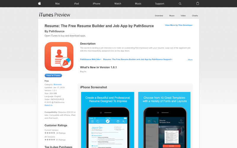 Resume the free resume builder and job app by pathsource for Free resume maker app