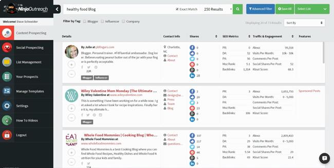 influencer marketing search Ninja Reach