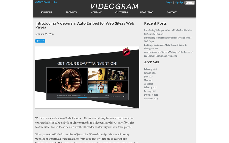 Introducing Videogram Auto Embed for Web Sites / Web Pages