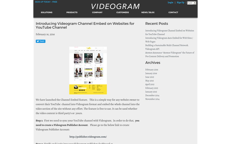 Introducing Videogram Channel Embed on Websites for YouTube Channel