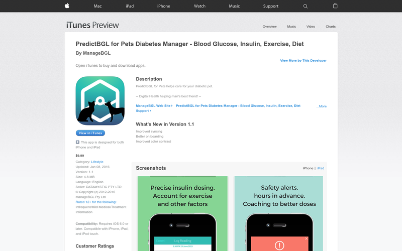 PredictBGL for Pets Diabetes Manager - Blood Glucose, Insulin