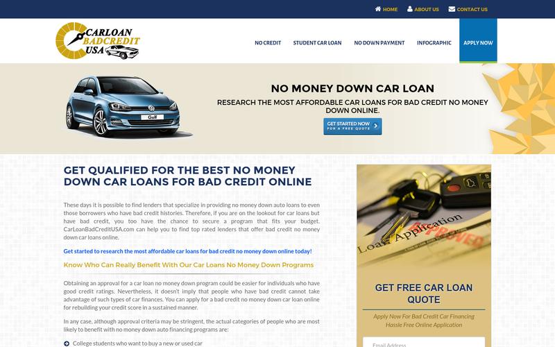 Bad Credit No Money Down Car Loans Get Auto Loan No Money Down