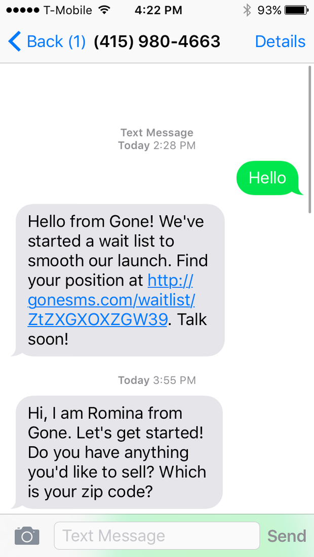 Gone SMS - Sell by Text
