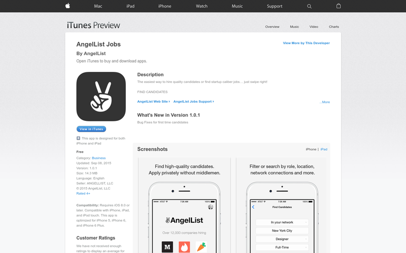 AngelList Jobs iOS App