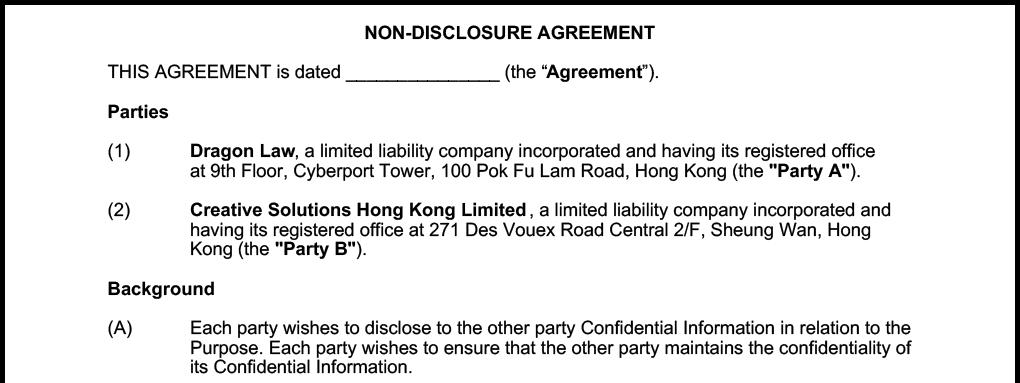 Free Confidentiality Agreement Nda Angellist