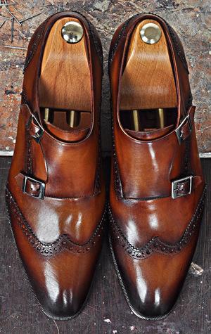 ed5f7dca896 TucciPolo Pietra Monkstrap Double Buckle Handmade Tobacco Mens Classic  Calfskin Shoe
