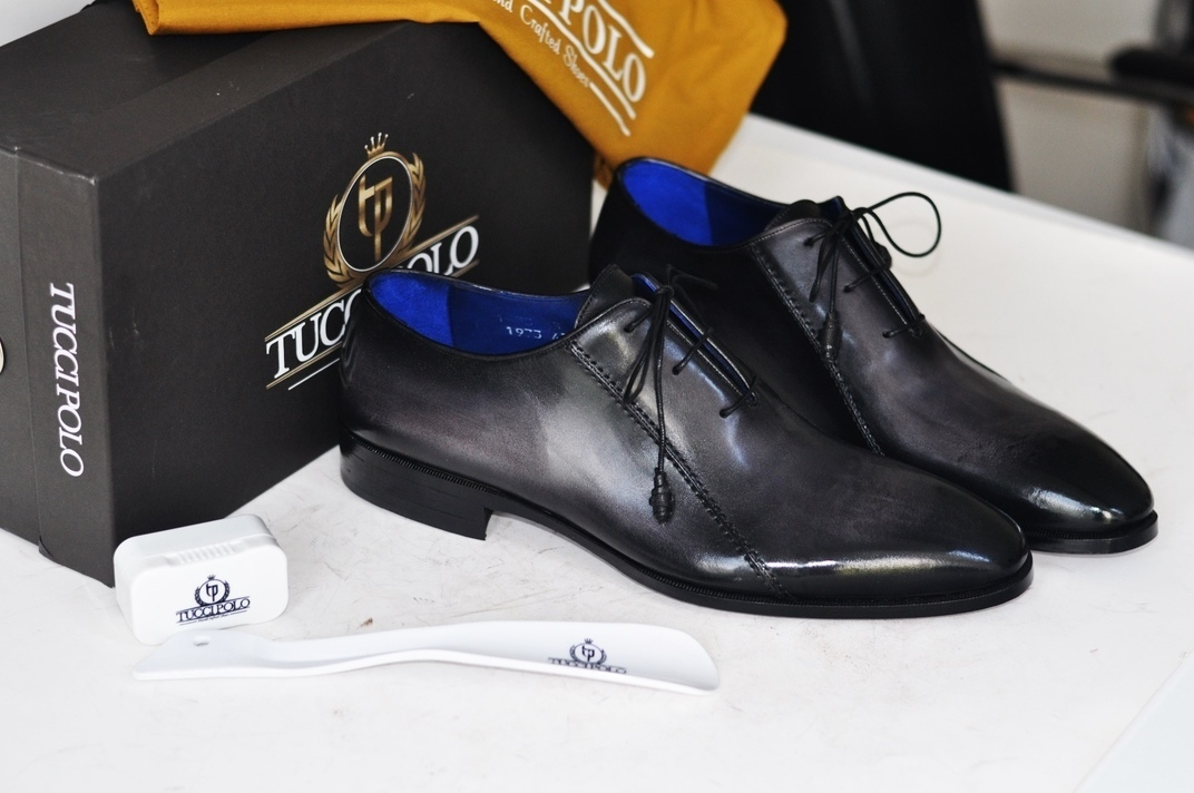 Tuccipolo Black Oxford Mens Handcrafted Italian Leather Luxury Shoe