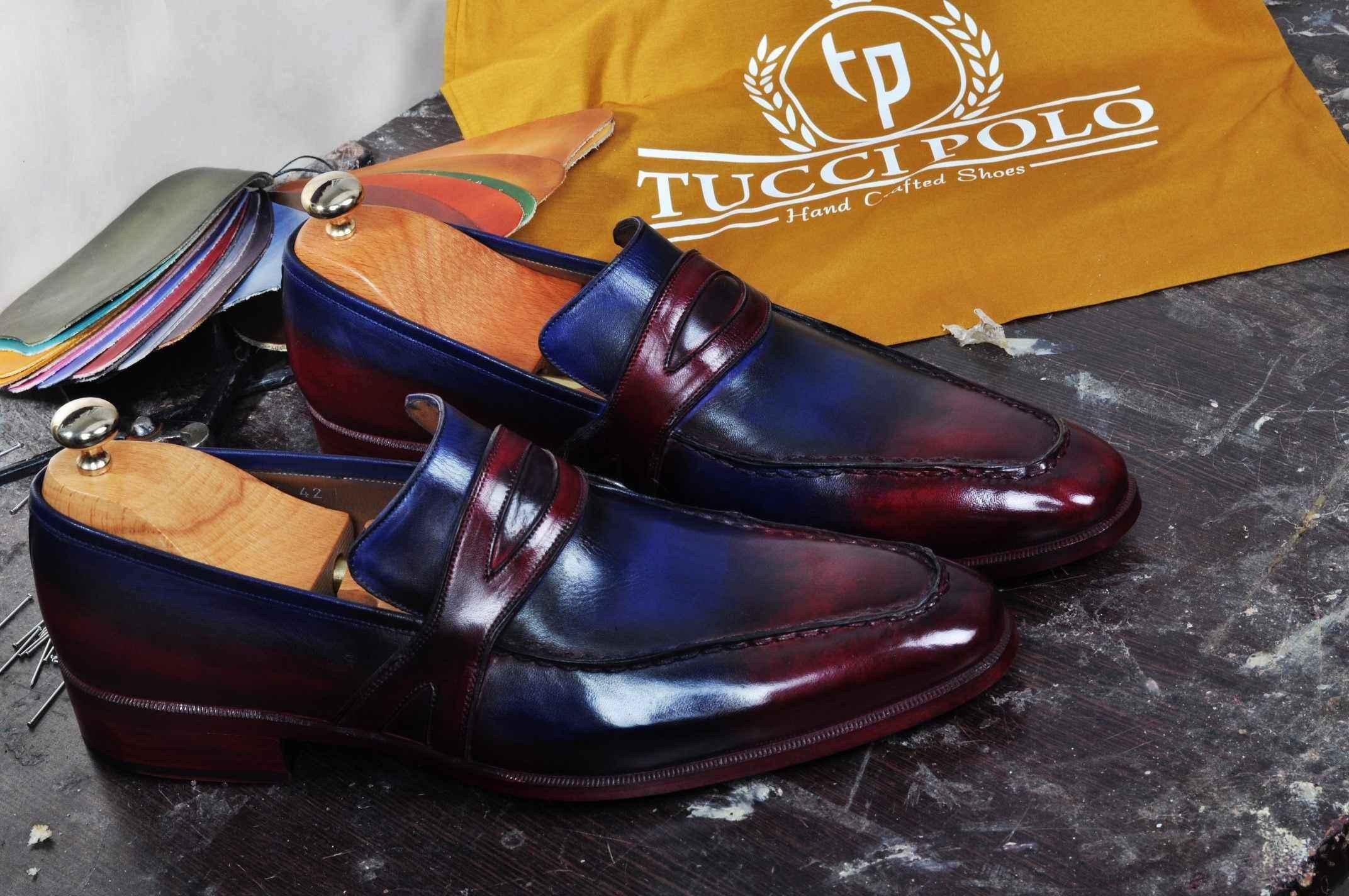 2584cc70babdb TucciPolo Mens Handmade Italian Leather Luxury Two Tone Blueish ...